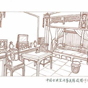 新中式座椅设计——手绘图