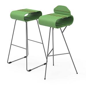 高脚椅-竹材弹性座面